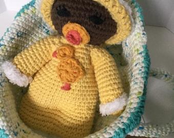 Custom Crocheted Baby and Bassinet Playset