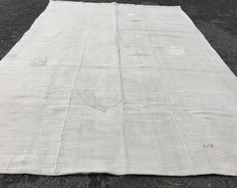 5'8x8'3 feet,Hemp White vintage Kilim Rug,Hand Made Rug,Kilim Rug, Decorative Rug,Hemp Rug ,Natural Rug, Floor Rug, 253x178 cm.