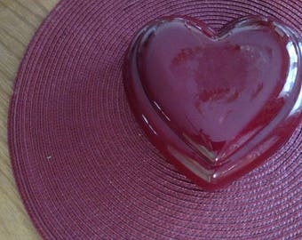 Red Ceramic Heart Shaped Box