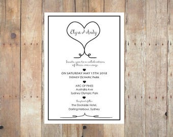 Wedding Invitation Printable, Rustic Hearts