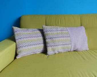 Cushion rectangular pastel geometric pattern
