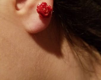 Handmade polymer clay rose stud earrings