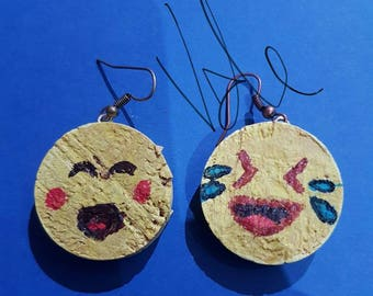 Cork emoticon earrings
