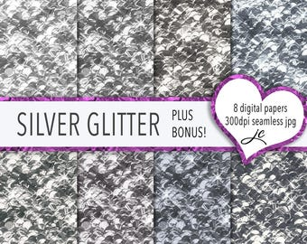 Silver Glitter Digital Papers + BONUS Photoshop Pattern Files, Seamless, Glitter Textures, Backgrounds, Clipart, Personal and Commercial Use