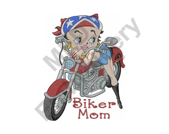 Biker Mom - Machine Embroidery Design, Betty Boop On Motorcycle