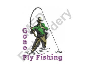 Fishing - Machine Embroidery Design, Fish, Gone Fly Fishing