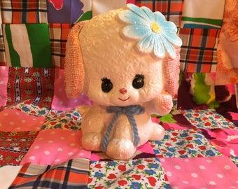 Vintage Sweet Eyelash Puppy Planter Daisy Floral Embossed Yarn Bow Enesco Japan E9986 Ceramic