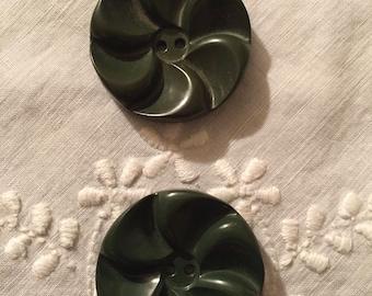 Green Bakelite Buttons Set/2