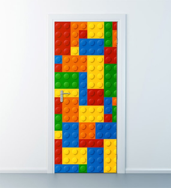 lego wall decal lego wall sticker door decor abstract art. Black Bedroom Furniture Sets. Home Design Ideas