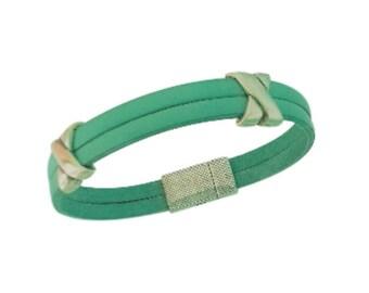Pearl Mint - green leather bracelet cross bandwidth