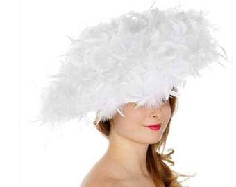 All feather fascinator White Hat