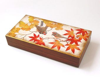 Decoupage Autumn gift box Wooden jewelry box Autumn leaves storage box Birds keepsake box Japanese style box Desk storage box Coin stash box