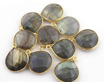 50% off 10 Pcs 24K Gold Plated Flashy Labradorite Gemstone Faceted Heart Shape Single Bail Pendant 21mmx17mm PC022
