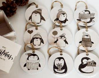 Rustic Christmas Decorations, Pinguins Ornaments, Christmas Ornament Set, Wooden Christmas Ornament Set, Christmas Gift