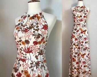1970s Floral Halter Maxi Dress / Small