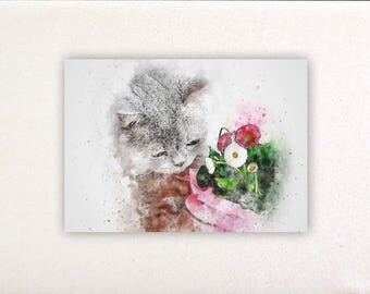 Cat - Watercolor prints, watercolor posters, nursery decor, nursery wall art, wall decor, wall prints 1 | Tropparoba 100% made in Italy