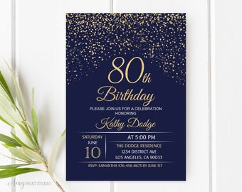 80th Birthday Invitation, Navy Gold Birthday Invitation, Blue and Gold Birthday Invite, PERSONALIZED, Digital file, #W48
