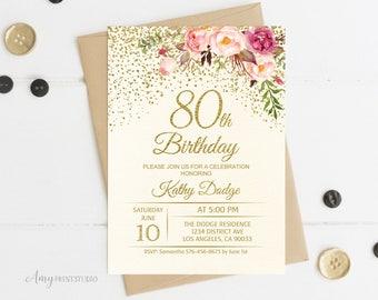 80th Birthday Invitation, Floral Ivory Birthday Invitation, Cream Birthday Invite, PERSONALIZED, Digital file, #W56