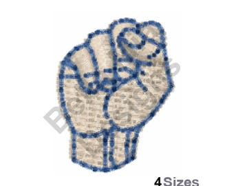 Letter S - Machine Embroidery Design, Sign Language