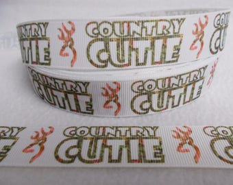 """Hunting Theme """"Country Cutie"""" 7/8"""" Grosgrain Ribbon by the yard, Choose 3/5/10 yards. Country Girl Deer Hunt and Camo Theme"""