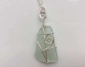 Seaglass Swirl pendant necklace