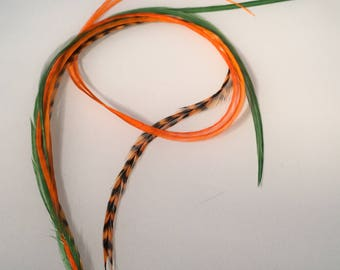 "Orange and green 5 feather hair extension 8"" -10 """