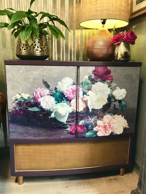 SOLD! Fab vintage 60s record radiogram cabinet upcycled New Order style