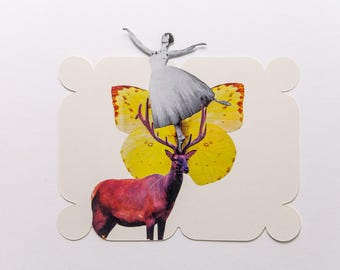 deer with butterfly and dancer, original paper collage