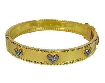 Bohemian style pave diamond sterling silver heart bracelet hinged bangle