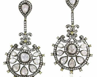 Victorian style 5. 10ctw rose cut diamonds polki sterling silver Statement long danglers Wedding earrings Chand Bali