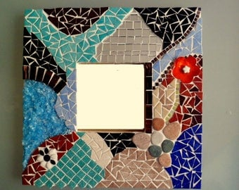 """Small """"nature"""" mosaic mirror, wooden mirror covered with enamels of Briare, mirror, Japanese pebbles, glass"""