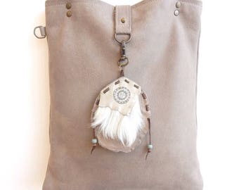 Leather bag warm grey