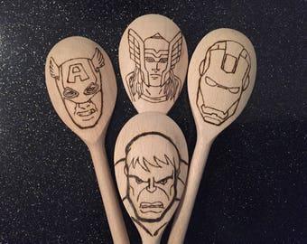 Avengers inspired 4 piece utensil set