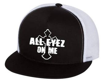All Eyez On Me 2pac tupac shakur Cross Black Trucker Cap