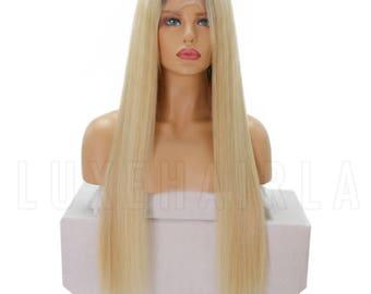 Pre-Plucked Brazilian Human Hair 613 Platinum Blonde Straight Full Lace Wig with Dark Roots