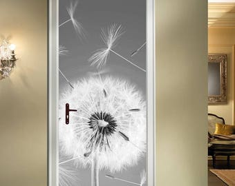 Grey Dandelion Door Sticker, Art Decal Mural 204