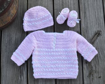 Crochet Baby Girl Sweater Set Pink White