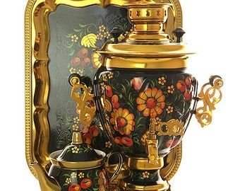 Russian Electric Samovar Tray Teapot Set  for 110 volts