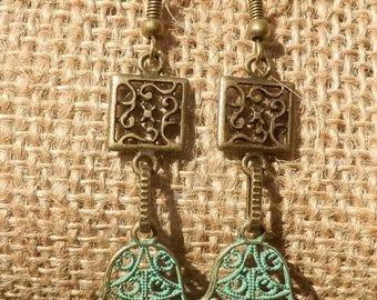 Hamsa earrings/ copper dangle earrings/ bohemian earrings/ hippie jewelry/ yoga jewelry/ Artisan earrings/ tribal jewelry/ Gypsy earrings