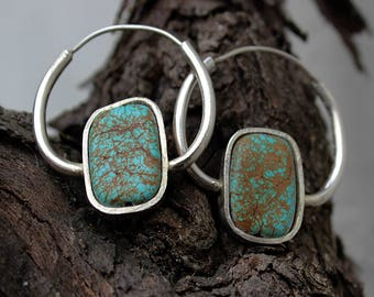 Egyptian Silver and turquoise earrings