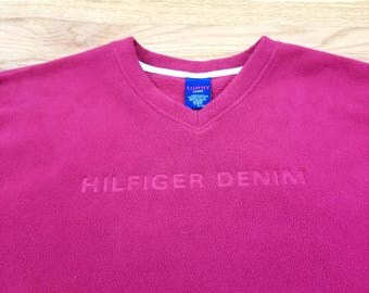 Vintage 90s Tommy Hilfiger Red Spell Out Fleece Jacket Pull Over Sweater Size XL