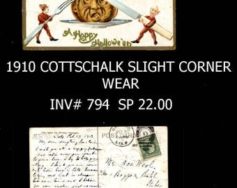 Vintage 1910 Halloween Postcard Embossed Reduced to 22 Dollars inv 794 bbkpg5