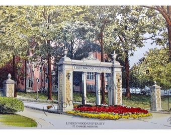 Lindenwood University LIMITED EDITION Pen and Ink and Watercolor Art Print Illustration, Graduation, Alumni