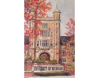 University of Michigan LIMITED EDITION Pen and Ink and Watercolor Art Print Illustration - Graduation Gift, university