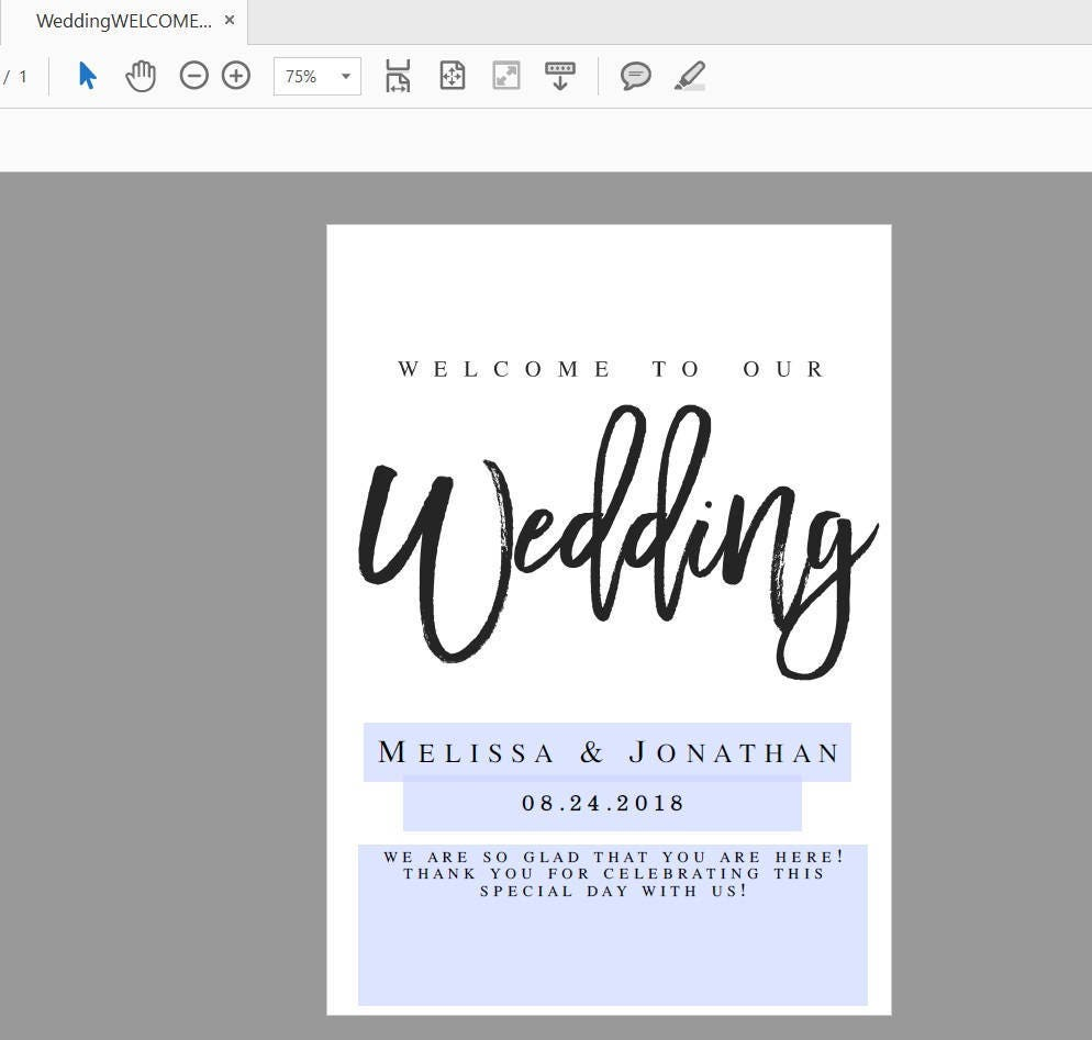 Navy Welcome to our Wedding Sign Template Welcome Wedding Template ...