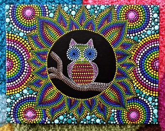 "Original hand painted Mandala, Dot art, Dot Painting ""Rainbow Mandala Owl by Night"" colourful wall art # 53. Free Shipping"