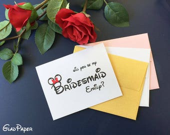 Personalize Will You Be My Bridesmaid card Disney, Bridesmaid card, Personalize Wedding Inviation card, Personalize Bridesmaid cards