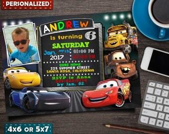 Disney Cars Birthday Invitation- Disney Cars Invitation- Disney Cars Birthday- Disney Cars Birthday Decorations- Disney Cars 3- Disney Cars