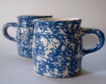 Blue and White Spongeware Coffee Mugs Set of 2