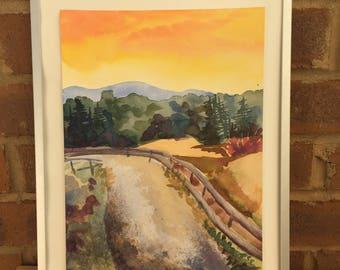 Original southwest desert landscape watercolor painting